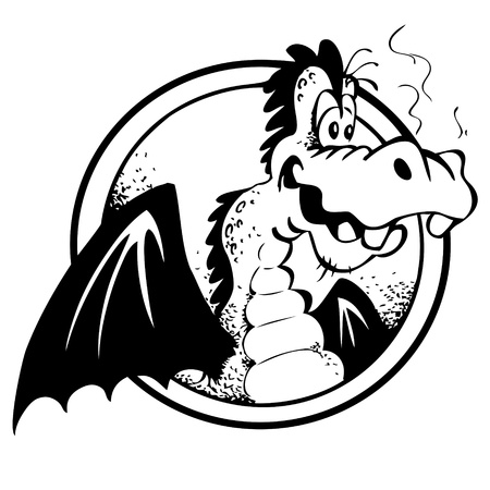 winged dragon: Cheerful Dragon in black and white, isolated