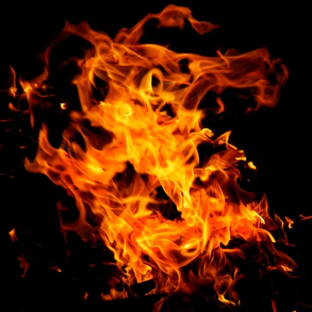 Fire flames on a black background Stock Photo - 15558703