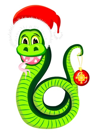 Snake in the hat of Santa Claus Vector