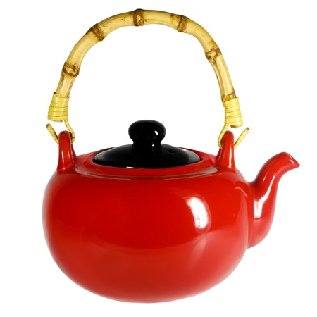 Red teapot with a bamboo handle Stock Photo - 16521947