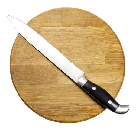 Large kitchen knife on a wooden board Stock Photo