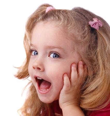 Surprised little girl  isolate on white Stock Photo