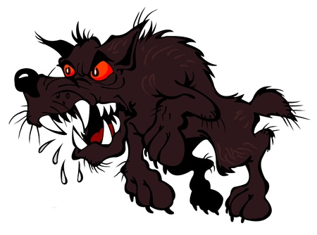 angry dog: Embittered brown dog Illustration