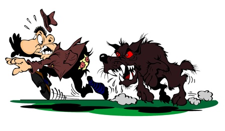 hunting dog: Dog chases a frightened man Illustration