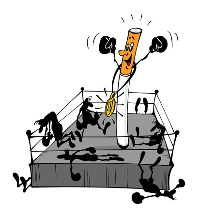 smolder: Cigarette on the boxing ring