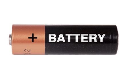 pila: AA batería aislado en blanco Foto de archivo