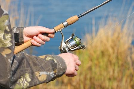 bass fishing: Man is fishing Stock Photo