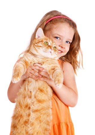 redhead: Little girl with a big red cat
