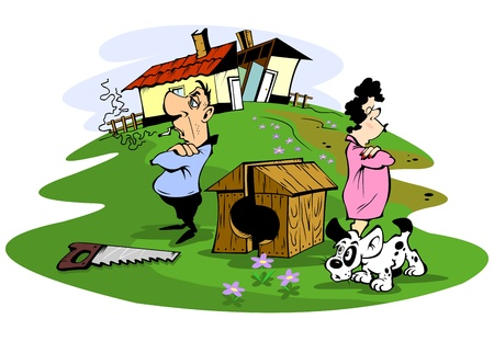 quarrel: Husband and wife quarreled, illustration Illustration