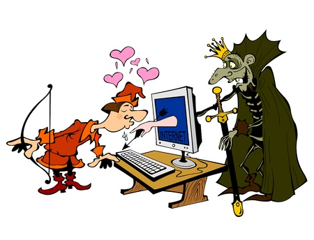 Scene with prince and a monster, metaphor of online dating