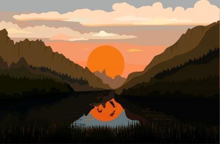 Tranquil mountain lake photo