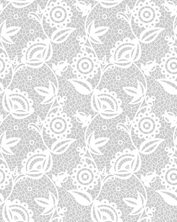 lace pattern: Seamless white floral lace pattern on gray background Illustration