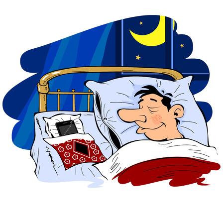 Man sleeps near the phone, isolated Illustration