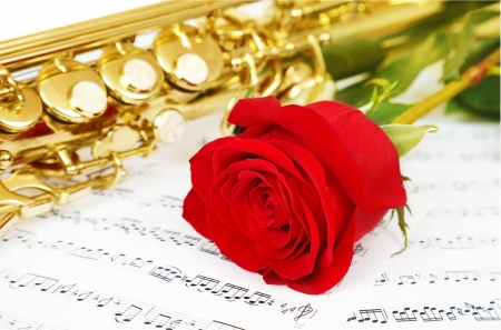 Musical notes and saxophone with flower photo