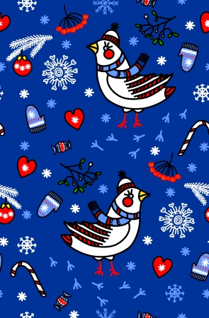 Winter seamless blue background with birds, vector Vector