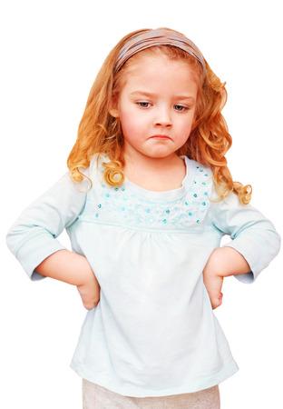 Unhappy little girl isolated on white background Standard-Bild