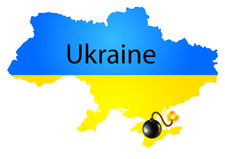 disputed: Vector map of Ukraine in National flag colors with bomb Illustration