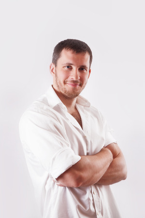 personable: Man with white shirt over white background