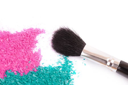 powdery: Powdery eyeshadow makeup and brush on a white background Stock Photo