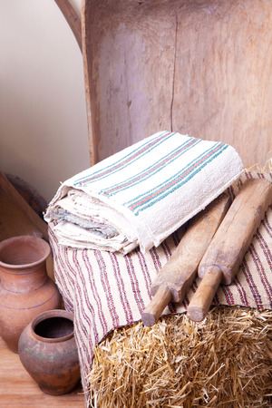 old items: Vintage household items and old homespun cloth