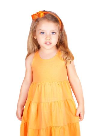 Cute little girl smiling, isolated on white background Standard-Bild