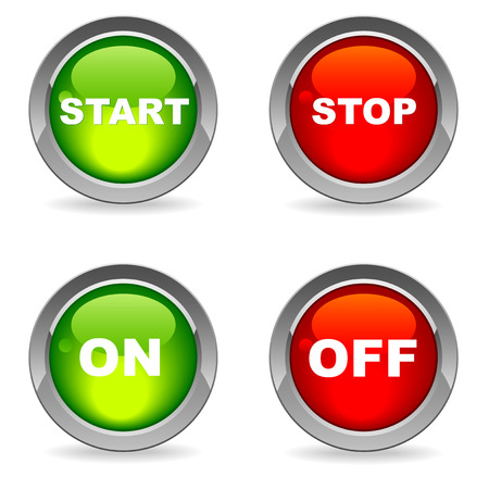 start button: Start and stop, on and off buttons, isolated on white with shadows