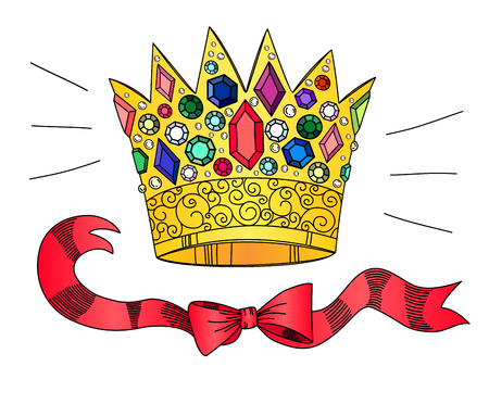rich girl: Golden crown with gems and ribbons, isolated on a white background