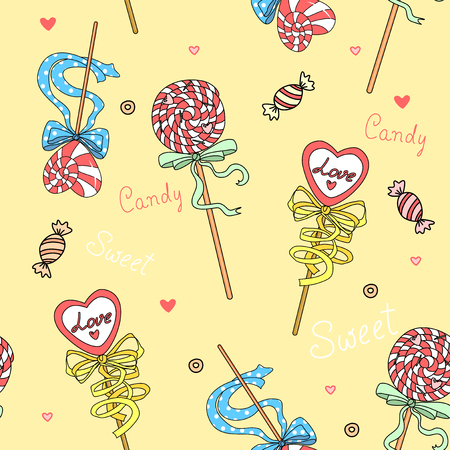 jellybean: Vector seamless background with colorful candies on a yellow background