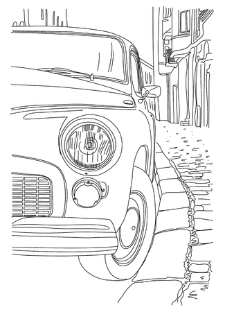 A sketch of the old cars parked near the sidewalk