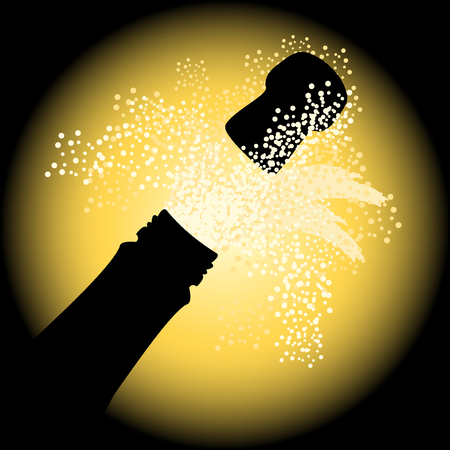 champagne: Holiday sparks of a champagne, vector illustration