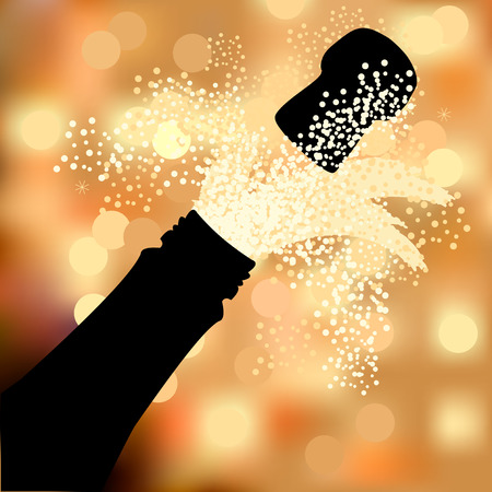 champagne bubbles: Bottle of champagne to spray on a beautiful abstract background Illustration
