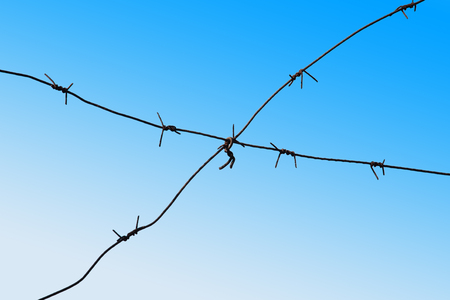 barbed wires: Barbed wires against bright blue sky background