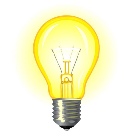 incandescent: Bright glowing incandescent light bulb on a white background