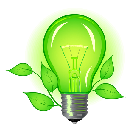 incandescent: Incandescent lamp with green leaves on a white background
