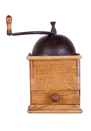 Old coffee mill, isolated on white background