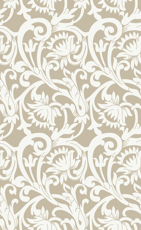 Seamless floral background with swirls and flowers in a retro style Illustration