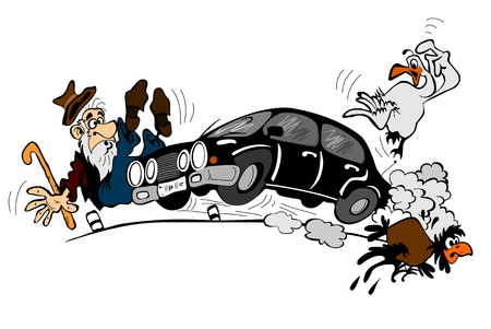 exceed: Car at high speed and an elderly man, isolated on a white background