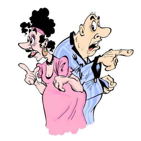 남편과 아내는 흰 배경에 고립 된 다른 방향으로 손가락을 보여줍니다.
