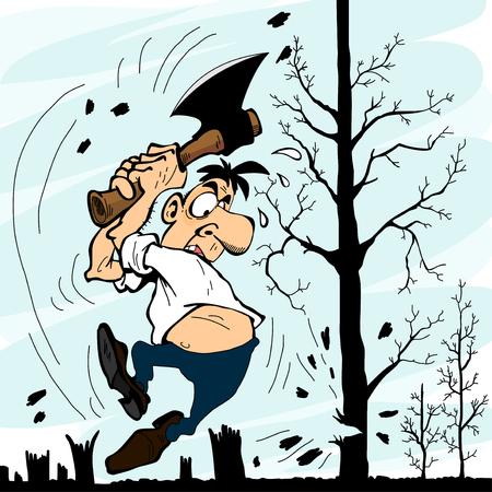 Un hombre con un hacha de cortar árboles Foto de archivo - 52560836
