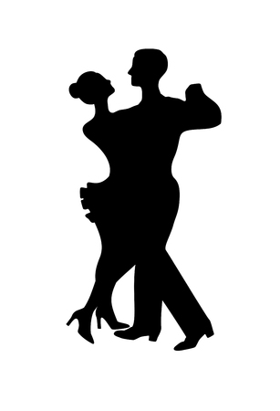dance steps: Silhouette of dancing couple, isolated on white Illustration