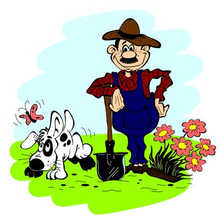 obrero caricatura: Hombre y perro en el jard�n sobre un fondo de cielo azul Vectores