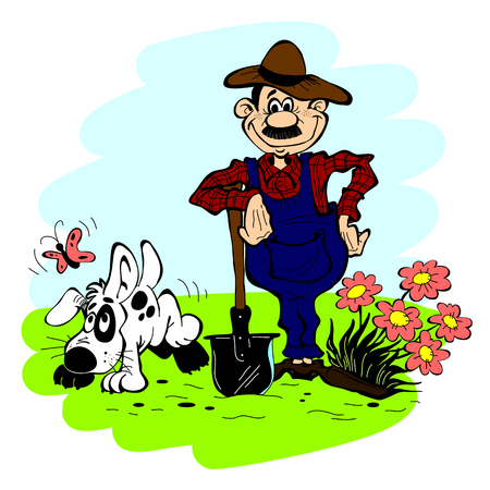 occupation cartoon: Man and dog in the garden on a background of blue sky Illustration