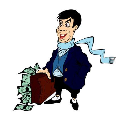 Un homme riche avec une valise pleine d'argent, isolé sur fond blanc
