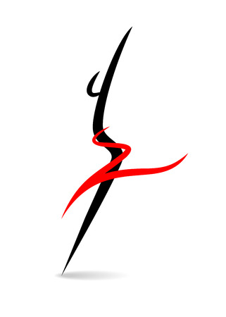 skinny: Stylized female silhouette on a white background