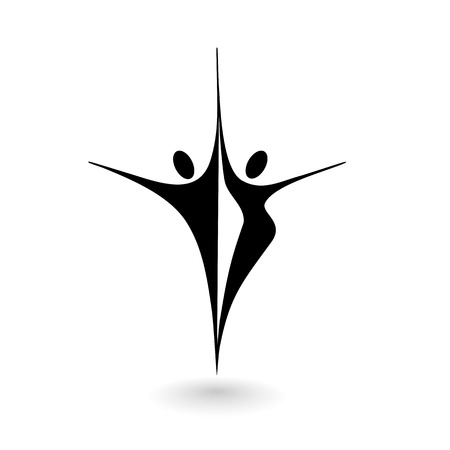 Stylized icon with a male and female figure on a white background