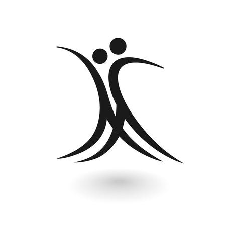 Gestileerde logo met een dansende mannelijke en vrouwelijke figuur op een witte achtergrond