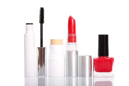 Cosmetics makeup on a white background, isolated Standard-Bild