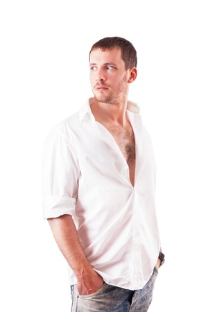 personable: Portrait of a young attractive man in shirt isolated on a white background Stock Photo