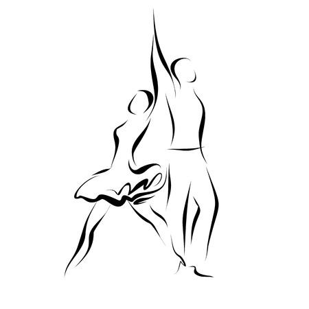Silhouette d'un couple de danse, isolé sur blanc