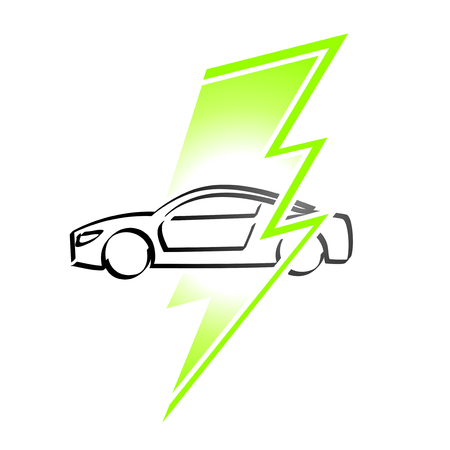 electric vehicle: Electric vehicle simple logo on a white background Illustration